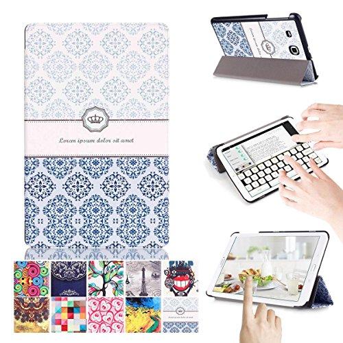 Galaxy Tab E 9.6 Hülle, [Mehrfachwinkelstand] [Automatischer Aufwachen / Schlaf ] 3-Faltende Ultra-dünner PU-lederner und Stoßdämpfer Schützender Folio Fall Hülle für Samsung Galaxy Tab E 9.6/SM-T560/SM-T561/SM-T567 Verizon 4G LTE