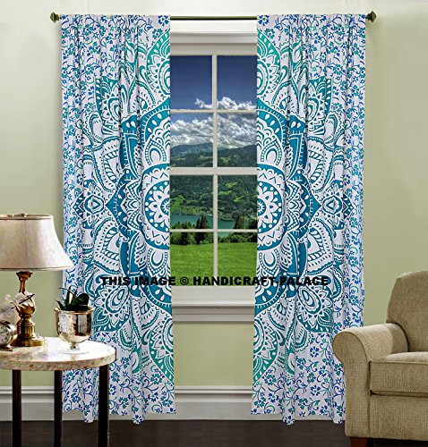indischen Ombre Mandala Tür Fenster Vorhang Tuch Panel Sheer Schal Raumteiler Baumwolle handgefertigt ethnischen von