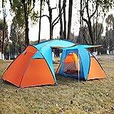 Zelt für 4 Personen Tunnelzelt Familienzelt Campingzelt Set-Größe: 460*230*180 CM Wassersäule: 3000 mm Blau-Orange