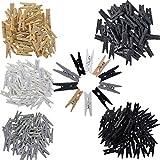 200 Stück Deko Holzklammern Vintage Basic weiß grau schwarz DIY Mini Wäscheklammer Zierklammer aus Holz - Verpackt in einer Holzschachtel