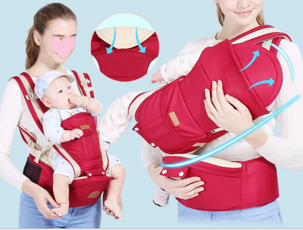 Multifunctional Baby Waist Stool 6 in 1 Baby Carrier Detachable Hip Joint Wide Shoulder Strap Easy and Effort babao 【Perfect for All Seasons】100% organic cotton and breathable mesh material make it soft and comfortable for you and baby skin. Adjustable and demountable temperature-regulation anti-wind hood allows you to keep cooling or warm as you need 【many Carrying Positions and Many Usages】many or out ward facing with or without the hip seat and as a hip seat for infants with the mom or dad detached.Besides, more positions can be allowed as pictures show 【Multifunctional & Adjustable Baby Carrier】Ergonomic positioning of baby seat allows baby's thighs to be supported to the knee joint. The forces on the hip joint are minimal because the legs are spread, supported, and the hip is in a more stable position. Also provides carrying comfortable for adults with wide adjustable lumbar support belt with Velcro and buckle for added safety and strength, and wide adjustable shoulder straps to accommodate both forward and rear positions 4