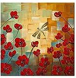wieco Kunst–Libelle loves Blumen Kunstdruck auf Leinwand 100% handgemalt modernes Motiv Ölbild Gemälde auf Leinwand für Home Decor, Öl, rot, 32x32inch (80x80cm)