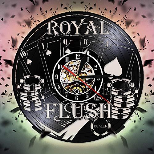 Mendder Poker Disco De Pared De Vinilo Reloj Royal Flush Spades Gamble Reloj Reloj Las Vegas Sala De Juegos Juego Casino Decoración De Pared Señal