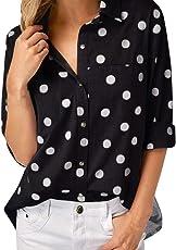MEIbax Damen Arbeits Büro Punkt Druck Graue Knopf beiläufige Lange Hülsen Hemd Blusen Spitze Oberteile Langarmshirt Hemd Vintage Tunika