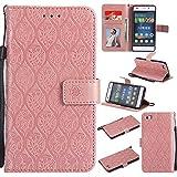 Guran Funda de Cuero Para Huawei Ascend P8 Lite Smartphone Función de Soporte con Ranura para Tarjetas Flip Case Patrón de ratán vintage Cáscara - Oro rosa
