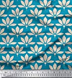 Soimoi Blau Viskose Chiffon Stoff künstlerisch Blumen-