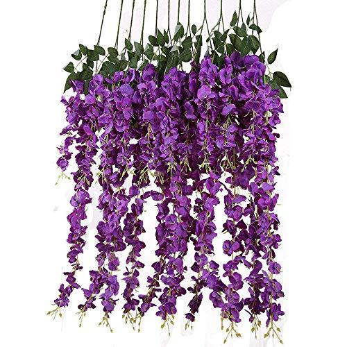 TIREOW Unechte Blumen, 12PCS künstliche gefälschte Wisteria Rebe Partei Hochzeits Dekorationen...