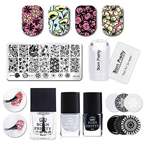 Born Pretty Nail Art Stamping Set Flower Image Plate Silicone Stamper Black White Polish with No Smudge Top Coat