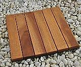 SAM® Holz-Fliese aus Akazie, Fliese 01, Einzelfliese, 30 x 30 x 2,4 cm, Klick-Fliesen für Balkon Garten Terrasse