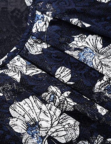 BaiShengGT Damen Übergröße Spitzen Rundhals Langarm Shirt Blau-Blumen