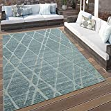 Paco Home In- & Outdoor Terrassen Teppich Modernes Rauten Design Türkis Blau Weiß, Grösse:120x170 cm