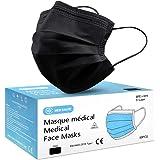 Lot de 50 Masque Noir Chirurgical médical jetable en Noir Masque de Protection Type I EN14683-2019, BFE≥95%, 3 Plis MEDI SANT