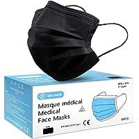 Lot de 50 Masque Noir Chirurgical médical jetable en Noir Masque de Protection Type I EN14683-2019, BFE≥95%, 3 Plis MEDI…