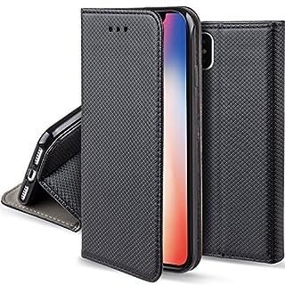 Moozy Hülle Flip Case für Apple iPhone X/iPhone XS, Schwarz - Dünne magnetische Klapphülle Handyhülle mit Standfunktion