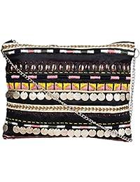 Diwaah Zip Top Clutch Purse-Sling Bag-Cross Body Bag (Black & Mulicolored) - B07F9PFX2Y