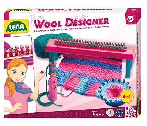 Lena 42003 - Strickset Wool Designer mit Strickbank, Strickring, Strickliesl, Stricknadeln aus Kunststoff und 50 g Garn, Strick Set für Kinder ab 6 Jahre, Woll Designer Set zum Stricken lernen