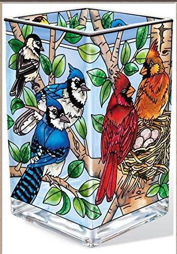 Amia-Cardinal-verschachtelt Birds Vase, rechteckig/Votivkerzenhalter