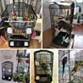 Yaheetech Large Metal Bird Cage Budgie Lovebirds Finches Canary Hanging Medium Parrot Cage Canary Cockatiel 46 x 35.5 x 92cm Black by Yaheetech