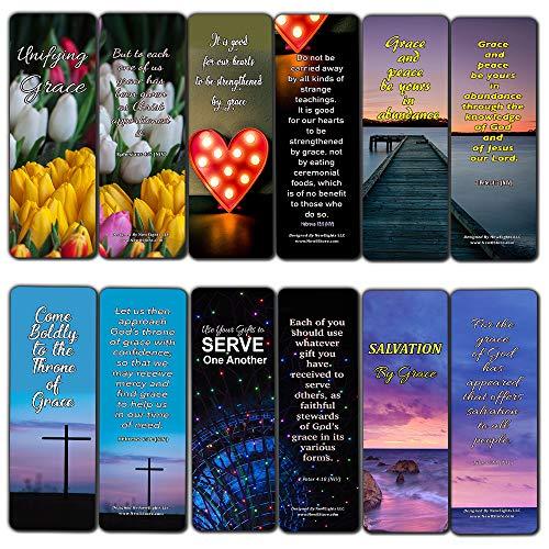 Segnalibri religiosi cristiani su ansia, integrità e grazia di Dio, confezione da 60 (60-Pack) Bible Verses Grace Bookmarks (60-pack)