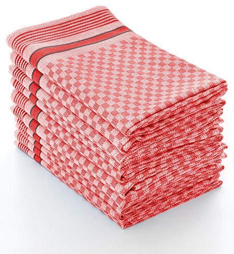 myHomery Grubentuch - Küchentücher 100% Baumwolle - Geschirrhandtücher - Trockentuch - Geschirrtücher für Küche & Gastronomie - Geschirrtuch kariert Rot | 10er Set 45x90 cm/Basic (Geschirrtuch Rot)