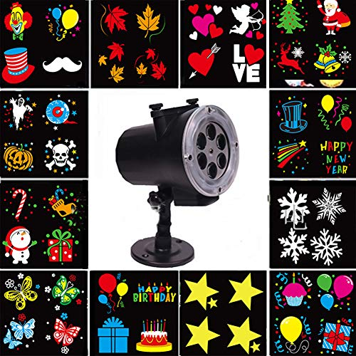 Christmas Halloween Gif LED Schneefall Projektor 12PCS Schaltbare Ultra High Helligkeit Spotlight Abnehmbare Outdoor IP65 Wasserdichte Animation Magic Mode Anime Garden Courtyard Pool (Halloween Gifs De)