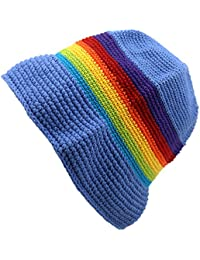 BLUE & RAINBOW STRIPE CROCHET COTTON KNIT BUCKET SUN HAT