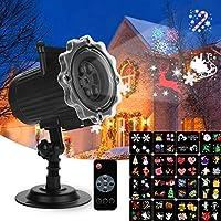Qxmcov Projecteur de Noël, Projecteur Halloween, Lampe Projection Décorative Extérieur et Intérieur avec Télécommande et 16 Diapositives, Projecteur de Lumière pour Fête Mariage Anniversaire Jardin