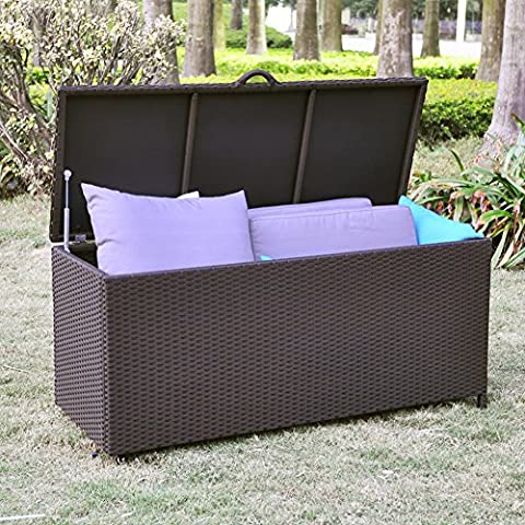 Outdoor Patio Resin Wicker Deck Box Storage Container Bench Seat, 86 Gallon, Anti Rust, All Weather Resistant, 51.97'' * 20.47'' * 24'', Espresso
