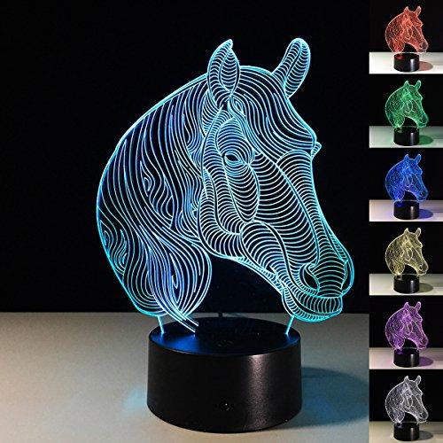 3D ILLUSION Lampe xjcking Nacht Licht Pferd Kopf 7wechselnden Farben Touch USB Tisch NICE Geschenk Spielzeug Dekoration