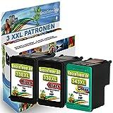 Alaskaprint Refilled Cartucho de tinta Reemplazo para hp 338 xl + hp 343 xl (Negro, Color 3-Pack)