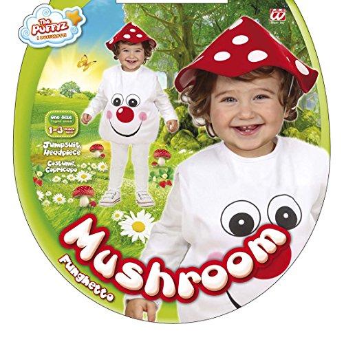 Amakando Pilzkostüm Kinder Baby Fliegenpilzkostüm 90-104 cm 1-3 Jahre Pilz Kinderkostüm Fliegenpilz Kostüm Karnevalskostüm Baby Günstiges Kinderkostüm Wald Babykostüm