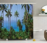 ADAM MARTINEZ JR Palm Tree Decor Shower Curtain, Ocean Scene from Jungle Tropical Beauty Natural Paradise in Nature Theme, Fabric Bathroom Decor Set with Hooks, 75 inches Long, Blue Green