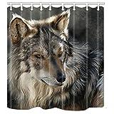 nymb Tiere Decor 3D Wolf Duschvorhang 175,3x 177,8cm Polyester Stoff Bad Fantastische Dekorationen Bad Vorhang Haken im Lieferumfang enthalten