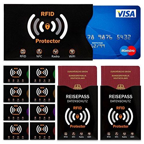 Travando ® RFID & NFC Schutzhülle (10+2 Set) für Bankkarte, Personalausweise, Kreditkarte, EC-Karte, Reisepass - 100% Schutz vor Auslesen von RFID & NFC Funk-Chips + 10 Farb-Sticker + GRATIS E-Book