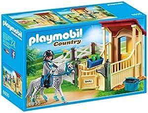 PLAYMOBIL Country Caballo Appaloosa con Establo, Caballo con manchas y detalles Azules, A partir de 5 años (6935)