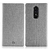 Eastcoo Oneplus 6 Hülle PU Leder Flip Case Tasche Cover Schutzhülle mit [Standfunktion][Magnetic Closure][Wallet]für Oneplus 6 Smartphone (Gray)