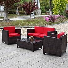 IKAYAA - Conjunto de Muebles de Minbre para Jardín Patio, Set de Mesa y Silla Color Rojo