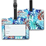 LIZIMANDU PU Leather Luggage Tags Suitcase Labels Bag Travel Accessories - Set of 2(White Coconut Tree)