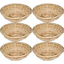 Get Goods - Juego de 6 cestas redondas de bambú natural para pan, cestas de almacenamiento