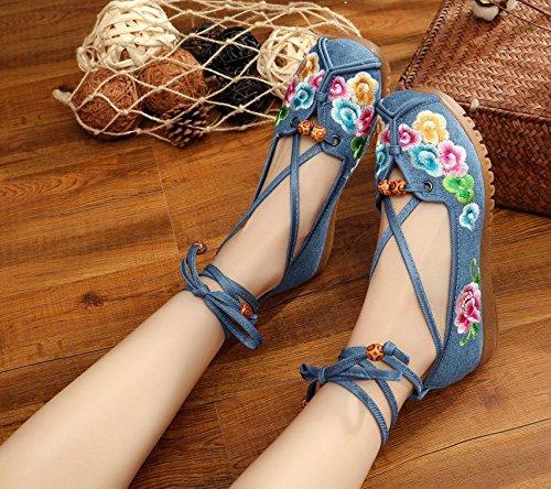 XHX Gestickte Schuhe, Sehnensohle, ethnischer Stil, Femaleshoes, Mode, bequem, Tanzschuhe , green , 40