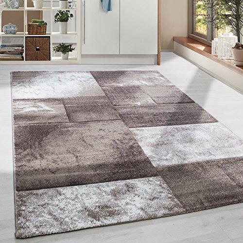 Moderner Design Konturschnitt Kurzflor Guenstige Teppich Geometrisch Patchwork Braun Mocca Beige Creme meliert 5 Groessen Wohnzimmer ver. Farben u. Groeßen, Größe:200x290 cm