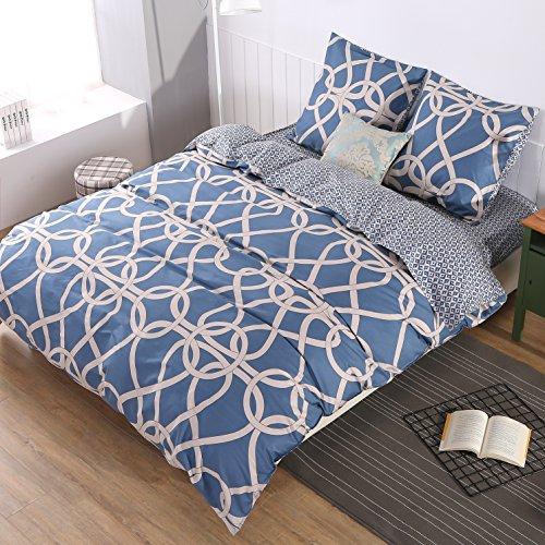 Baumwolle Queen-size Bettbezug (3tlg. Bettbezüge Set 100% Bio Baumwolle Bettwäsche Aktive schleifen double Bettdeckenbezug mit 2x Kissenbezug 65x65cm für erwachsene Queen King Size (Design 3, 240x220 cm))