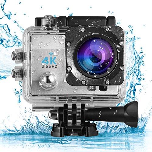 Leshp action cam 4k full hd, 12mp, wifi, subacquea e impermeabile, 1050mah batterie, 170° grandangolare, adatto per ciclismo, nuoto e attività all'aria aperta