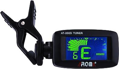 Stimmgerät Clip mit Mini Automatik Display für Gitarre, Bass, Ukulele und Violine, 360 Grad drehbar 3-farbige Rücklicht