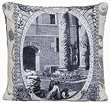 DESIGNERS GUILD römischen Colums Kissenbezug Stoff Dekoratives Kissen Fall Pictorial Szenen City of Arles Grau