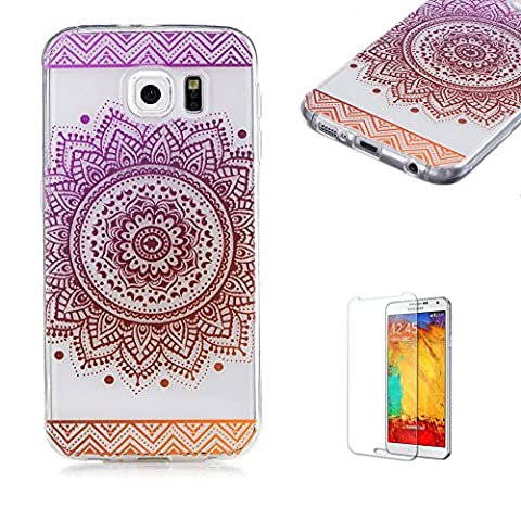 For Samsung Galaxy S6 Case [with Free Screen Protector], Funyye Lightweight Ultra Slim Anti Scratch Transparent Soft Gel Silicone TPU Bumper Protective Case Cover Shell for Samsung Galaxy S6 - Mandala Flower