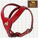 Woza Premium Geschirr FRANZÖSISCHE Bulldogge Vollleder GRÖßE 2,3/52CM VOLLRINDLEDER ROT RINDNAPPA ROT GEBUGGT Handmade Harness
