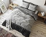 Bettwäsche Sleeptime True Dreams, 200cm x 200cm, Mit 2 Kissenbezüge 80cm x 80cm, Grau