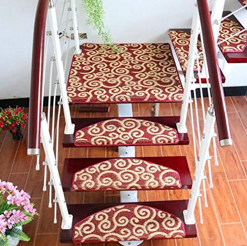 ZGYZ 15pcs / Set roter Stufenmatten,Anti-Rutsch-Schritt-Teppich-Moderne Treppen-Schritt-Auflagen-Selbstklebende, verwendbar für Glatte Oberfläche festes Holz, keramische Fliesen, Marmor,65 * 24 * 3 -