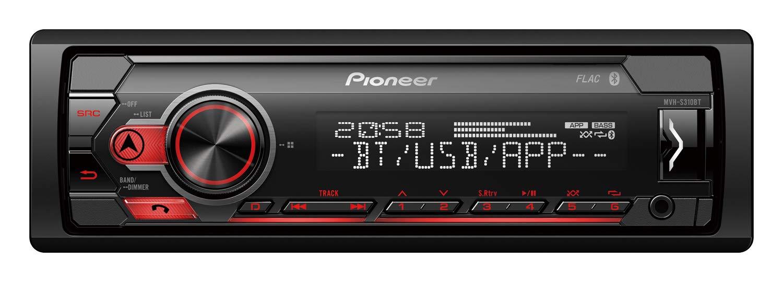 Pioneer-MVH-S310BT-1DIN-Autoradio-mit-halber-Einbautiefe-Mensprache-deutsch-Bluetooth-USB-AUX-IN-Freisprechen-rot